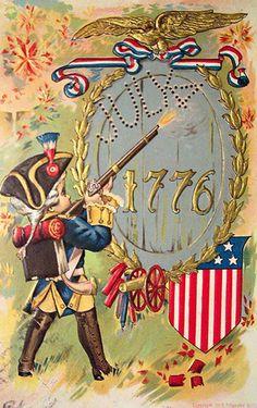 Vintage Patriotic Postcard  boy soldier with musket Revolutionary War 1776