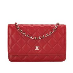 Chanel Bi-color Red Quilted Lambskin Wallet On Chain with Pink CC 527b4e0ff33a5