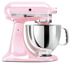 Since a pink refrigerator and oven is totally impractical, maybe I'll trade my black mixer for this beauty.