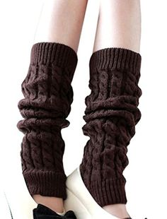 c33f9635b6c Womens Cable Knit Leg Warmers Ribbed Crochet Legging Long Boot Socks Coffee   gt  gt