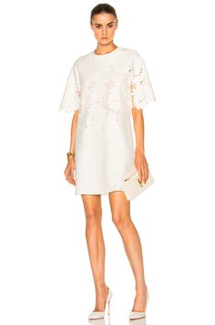 Image 1 of Victoria Victoria Beckham Delft Embroidered Shift in Ivory