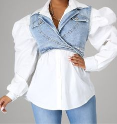 Bowling Outfit, Nude Lip, Denim Shirt, White Tops, Blue Denim, Button Up, Vest, Ruffle Blouse, Sweatshirts