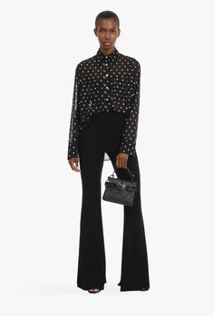 Flare Jeans Outfit, Black Flare Pants, Balmain, Sequin Shirt, High Waisted Flares, Pants For Women, Clothes For Women, Color Negra, Women Wear