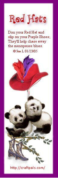 red hat ladies with bookmark with small poem