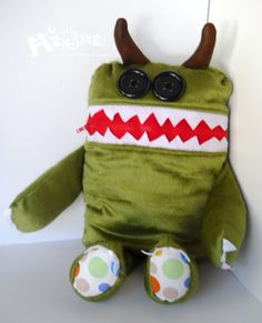 GIANT Cuddle Monster Pillow Pal GUAC zipper mouth - storage inside. $40.00, via Etsy.