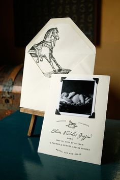 vintage picture style birth announcement from Joy Merryman Paperie