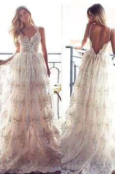 2017 champagne wedding dresses in spaghetti straps