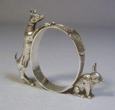 Rare Coin Silver Figural Napkin Ring Greyhound Dog with Rabbit