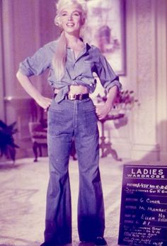 "Marilyn Monroe in a denim ensemble in a test photo on the set of ""Something's Got to Give"" 1962."