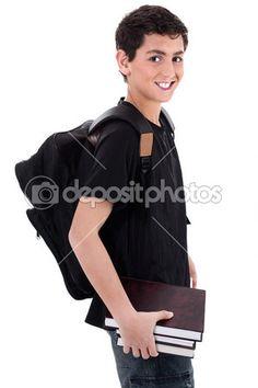 a4db40706fd720 Downloaden - Kant pose van knappe tiener jongen student met boeken in de  hand op geïsoleerde witte achtergrond — Stockbeeld  1969137