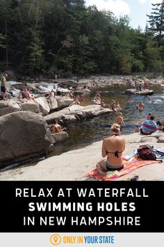 Swim, sunbathe, and relax at these beautiful and family-friendly waterfall swimming holes in New Hampshire this summer. Swimming Holes, Picnic Area, Summer Travel, Get Outside, New Hampshire, East Coast, The Great Outdoors, State Parks, Travel Destinations