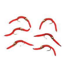 San Juan Worm Power Bead 1/2 Dozen Gold Bead Red V-Rib - Set of 6 Nymph Wet Flies