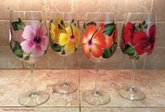 Hand Painted Hibiscus Wine Glasses Set of 4 by LemonTreeWorkshop