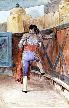 EN EL ESTRIBO. 1880. Obra de José Jiménez Aranda