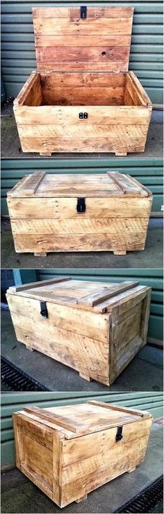 Increase the storage space in the home by copying this idea of creating a recycled wooden pallet chest, it keeps the things safe as the pallets are hard and nothing gets damaged when it is placed inside the chest made up of pallets. Wooden Pallet Projects, Wooden Pallet Furniture, Pallet Crafts, Wood Crafts, Diy Furniture, Backyard Furniture, Pallet Ideas, Bedroom Furniture, Pallet Boxes