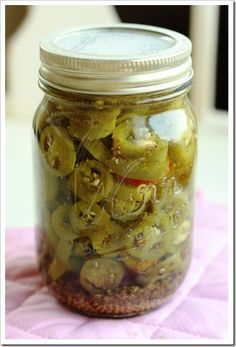 How to Can Jalapenos - I wanted to can just some plain jalapeños in water, to use in soups and other dishes where raw or pickled jalapeños wouldn't work, and this is basically the recipe I used...I used half pint jars, so I could use the opened jar up faster, and these worked out great! This is the way I will can them from now on...it is nice to have some jars of these on the shelf.