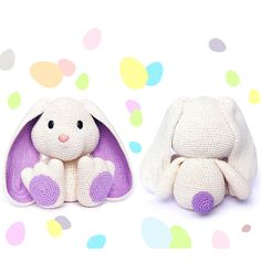 More Easter Bunny Crochet Patterns! Easter Bunny Crochet Pattern, Crochet Animal Patterns, Crochet Animals, Crochet Toys, Crochet Baby, Crochet Ideas, Cute Ponytails, Baby Dolls, Lilac