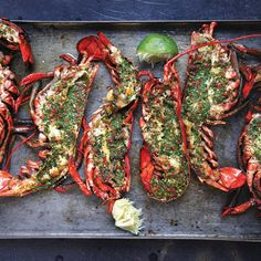 Who doesn't love grilled lobster ? Grilled Lobster with Cilantro-Chile Butter