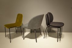 Three new chairs revealed by Ligne Roset at Paris and Cologne January 2016 and available on show later on in 2016. From the left: Naoshima by Eric Jourdan, Cimbo and finally Lawrance by Noe Duchauffour Lawance