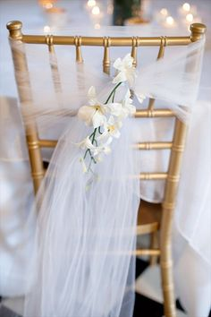** Wedding Chair Cover   emmalinebride.com #tulle #wedding #bride #chair #décor #reception #event