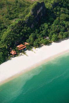 Four Seasons Resort at pristine white stretch of Tanjung Rhu in Langkawi, Malaysia