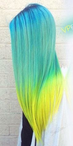 Light blue, yellow hair