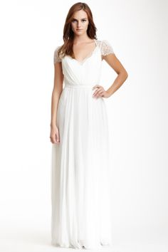 Lace Bodice Gathered Gown with Lace Cap Sleeves #modest #wedding #dress $245