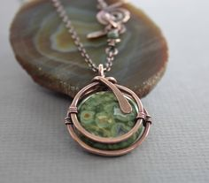 Captured moss green jasper copper pendant on chain with a decorative clasp - Copper necklace - Jasper necklace by IngoDesign on Etsy https://www.etsy.com/listing/197320842/captured-moss-green-jasper-copper