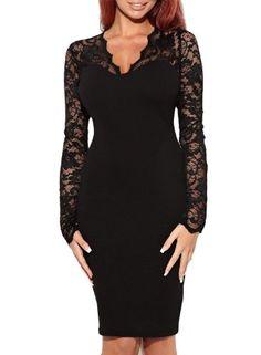 Miusol Women's V-Neck Lace Long Sleeves Evening Midi Dress     #Dress, #Evening, #Lace, #Long, #Midi, #Miusol, #Sleeves, #VNeck, #WomenS