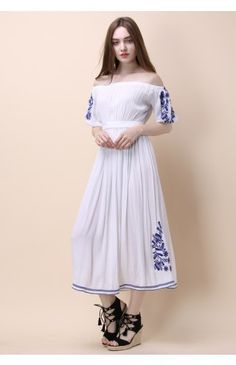 Boho Nymph Off-shoulder Maxi Dress in White - Dress - Retro, Indie and Unique Fashion