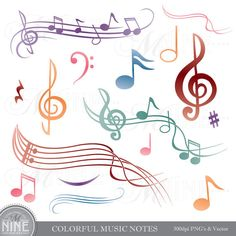 Colorful MUSIC NOTES Digital Clipart Musical Accent Clipart Design Elements, Instant Download, Clip art