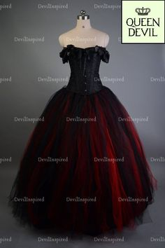f608a3fa792e5 Red and Black Off-the-Shoulder Romantic Gothic Corset Prom Dress, Black  Overbust Corset With A Red And Black Tulle Skirt -
