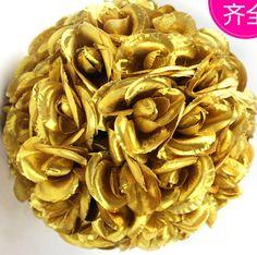 Gold Rose Flower Ball  Wedding decoratin Ball Silk Kissing Ball Flowers Pomander Rose  Balls  Multi-sizes (GA, USA) by FeatherParadise on Etsy
