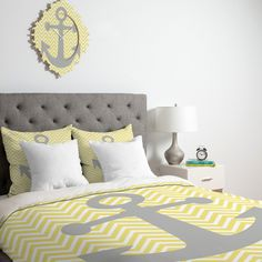 Lara Kulpa Yellow Anchor Duvet Cover on Wanelo