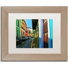 Trademark Fine Art Old San Juan 11 inch Canvas Art by CATeyes, White Matte, Birch Frame, Size: 16 x 20, Blue