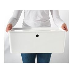 Buy IKEA KUGGIS Box with lid White(stackable). This big-size KUGGIS box is spacious enough for gaming supplies, hobby equipment or clothes. 7 Days Money Back Guarantee! Storage Bins With Lids, Decorative Storage Bins, Lid Storage, Ikea Storage, Storage Containers, Storage Boxes, Plastic Storage, Storage Spaces, Packaging