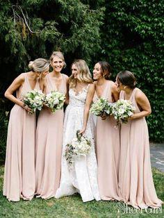 f7814f802d7 Simple V Neck Light Pink Bridesmaid Dresses Long Chiffon Maxi Dress ARD1838- SheerGirl Rose Bridesmaid