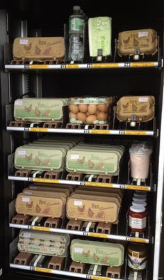 Grocery store vending machine that dispenses eggs. I like the egg carton picture. How can I get a p;icture like that on my egg cartons?
