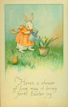 Bunny Watering Flowers