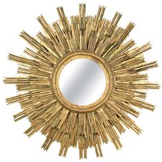 French Vintage Gold Leafed Sunburst Mirror | From a unique collection of antique and modern sunburst mirrors at http://www.1stdibs.com/furniture/mirrors/sunburst-mirrors/