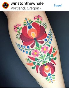These folk art tattoos are eerily reminiscent of some vintage fabric that might .These folk art tattoos are eerily reminiscent of some vintage fabric that might be lingering around your grandmother's house. Pretty Tattoos, Beautiful Tattoos, Hungarian Tattoo, Hungarian Embroidery, Finnish Tattoo, Swedish Tattoo, Ukrainian Tattoo, German Tattoo, Tattoo Geometrique