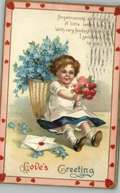 Clapsaddle-Valentine-Girl-Roses-Basket-of-Blue-Flowers-Gilt-Embossed-c1910-PC