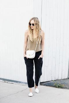 silk classics // silk pants // silk camisole // celine bag // white loafers // ray-ban sunglasses