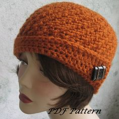 Crochet Hat Pattern Spiral Rib With Flapper Style Brim PDF Easy To Mak   studio7designs - Crochet on ArtFire