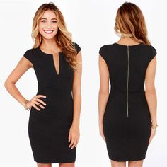 Fashion Women Pencil Dress Plunge V Neck Back Zipper Short Cap Sleeve Slim OL Work Party Dress Black