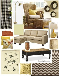 A Honey Inspired Living Room Design Board via Inspired by Charm