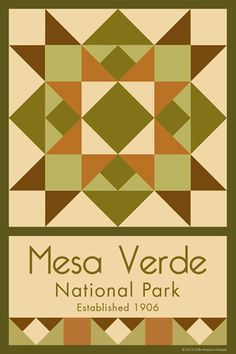 Mesa Verde National Park Quilt Block designed by Susan Davis. Susan is the owner of Olde America Antiques and American Quilt Blocks She has created unique quilt block designs to celebrate the National Park Service Centennial in 2016. These are the first quilt blocks designed specifically for America's national parks and are new to the quilting hobby.