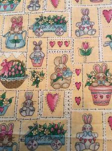 "Yellow Bunny Tulip Spring Fabric Dianna Marcum Marcus Bros 45 5"" by Yard Easter   eBay"