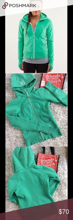 ReducedLululemon Scuba Jacket Color is green. Size is 2.  Measurement shown.  Good used condition.  Cover photo is from Lululemon and not the actual jacket.  Please keep in mysterious this is not a brand new jacket. lululemon athletica Jackets & Coats
