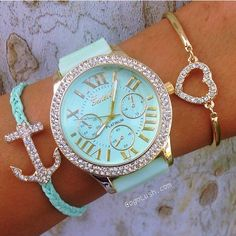Mint & Diamond Watch & Bracelets ... not so sure about that watch
